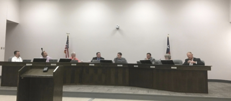 The Montgomery ISD board of trustees motioned to release an RFP for a search firm. The board usually meets in person, but under coronavirus regulations, it has been livestreaming its meetings. (Eva Vigh/Community Impact Newspaper)