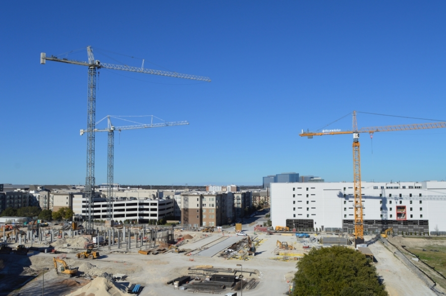 Construction continues on a site at The Domain in North Austin in winter 2019. (Iain Oldman/Community Impact Newspaper)