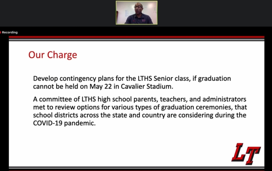 Gordon Butler, the principal of Lake Travis High School, presented a series of graduation ceremony options during the April 15 virtual board meeting. (Courtesy Lake Travis ISD)