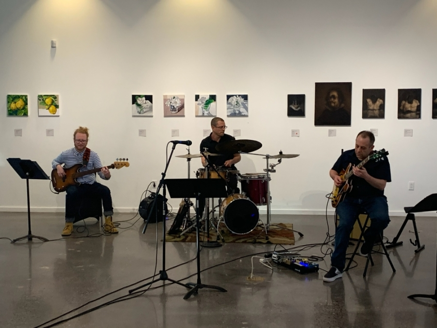 Jazz guitarist Greg Petito, bassist Corey Dozier and drummer Richard Cholakian participate in an April livestream concert at the Glade Cultural Center. (Courtesy Woody Witt)
