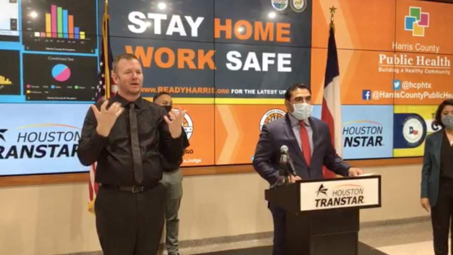 State Rep. Armando Walle (right) was named recovery czar for coronavirus recovery efforts in Harris County on April 20. (Screenshot via Facebook livestream)