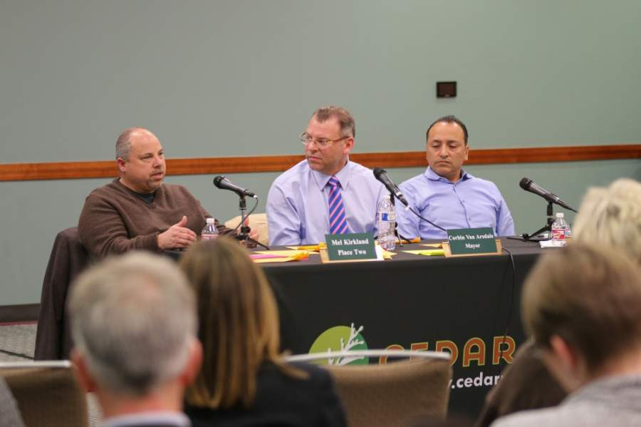 Cedar Park City Council Members Mel Kirkland (left) and Dorian Chavez (right) and Cedar Park Mayor Corbin Van Arsdale (center) answer questions from the public during the council chat town hall event March 6, 2019. (Courtesy city of Cedar Park)