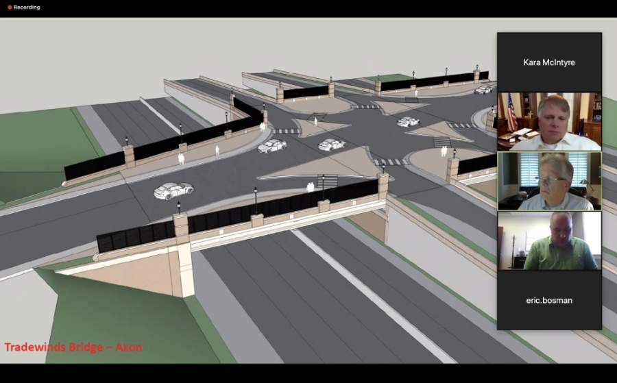 Alpharetta City Council members discussed the impact on the city's budget due to COVID-19 as well as showed renderings of future bridge construction over Georgia 400. (Screenshot via Zoom Meetings)