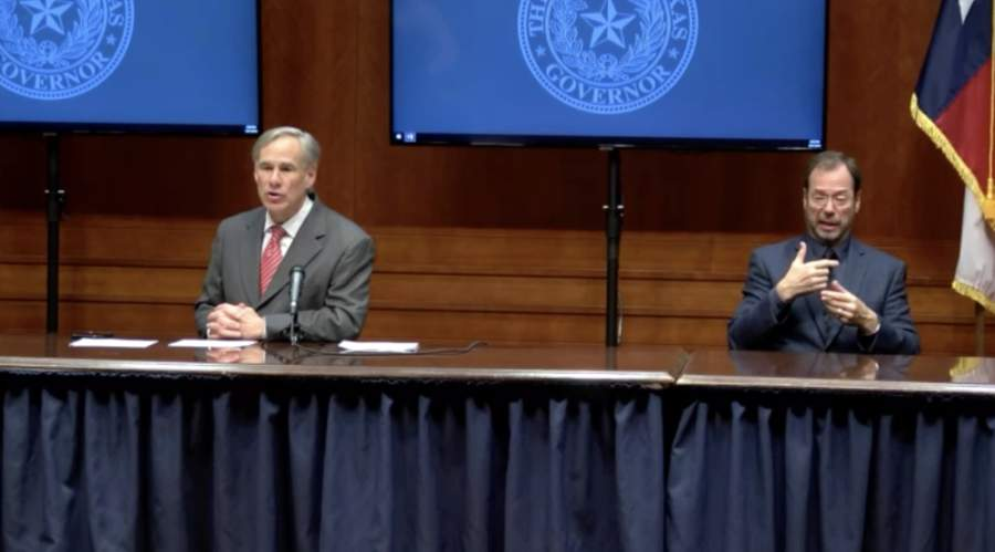 Texas Gov. Greg Abbott (left) said April 21 that the state is in a good position with coronavirus management to begin the reopening process for Texans. (Screenshot from April 21 press conference)