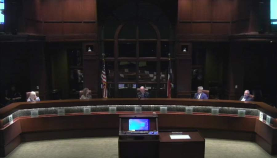 The Colleyville City Council met both in person and online on April 21. (screenshot courtesy city of Colleyville)