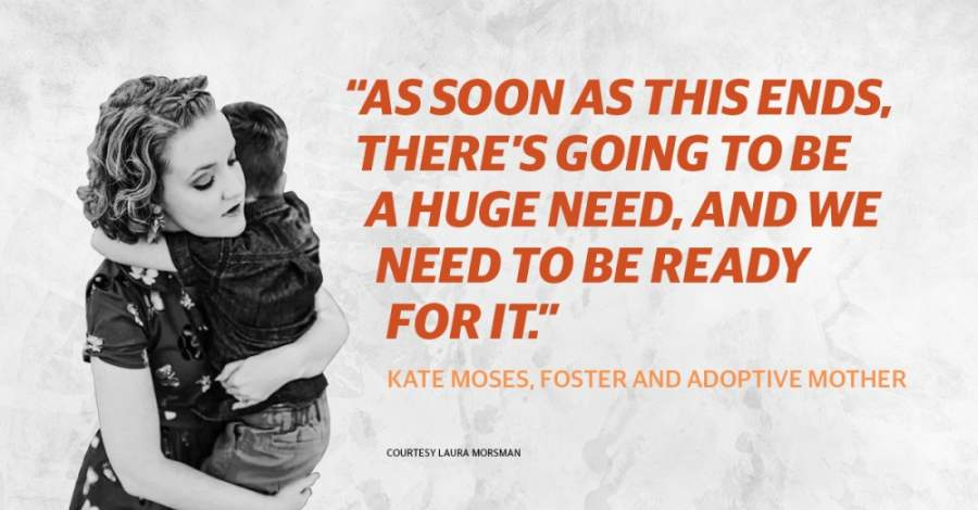 "A photo of Kate Morsman with her son with a quote that reads, ""As soon as this ends, there's going to be a huge need, and we need to be ready for it."""