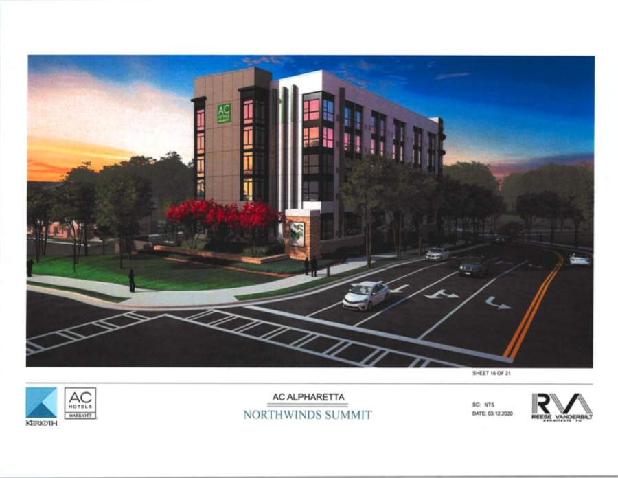 A new AC Hotel by Marriott hotel is coming to the city of Alpharetta. (Rendering courtesy city of Alpharetta)