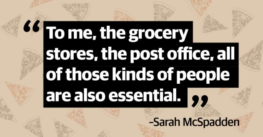 Sarah McSpadden has raised more than $5,000 for pizza donations. (Designed by Elyssa Turner)