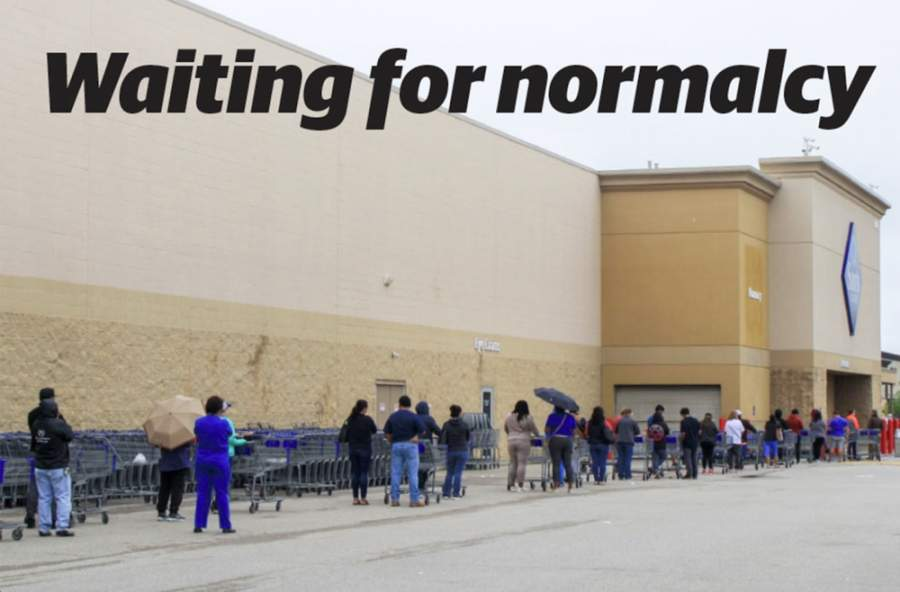 The Sam's Club grocery line in the Katy area is out the door as social distancing is in effect. (Jen Para/Community Impact Newspaper)