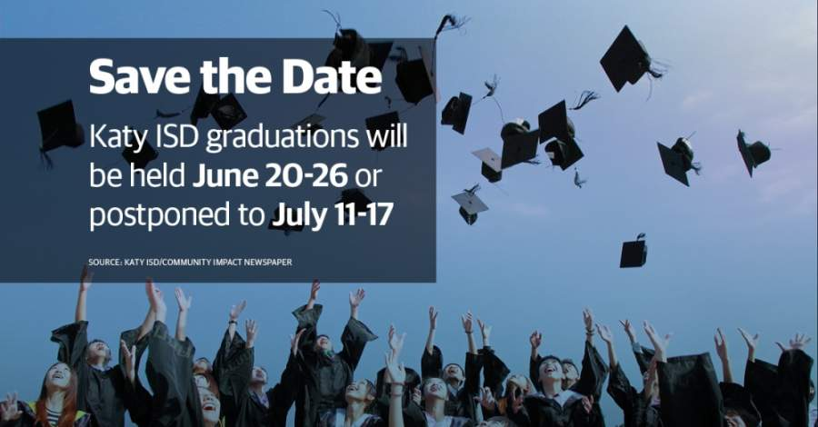 The district has also secured backup graduation dates in July. (Designed by Jose Dennis/Community Impact Newspaper)