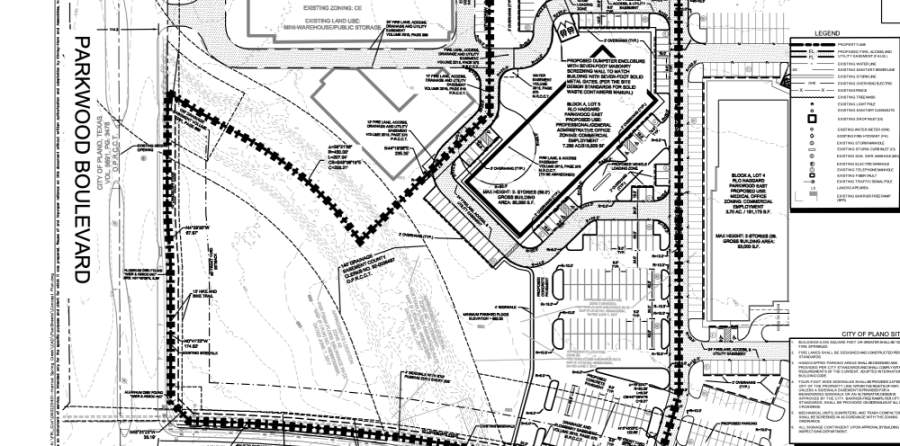 A developer has submitted plans with the city of Plano to construct a couple two-story office buildings off of Spring Creek Parkway. (Courtesy city of Plano)