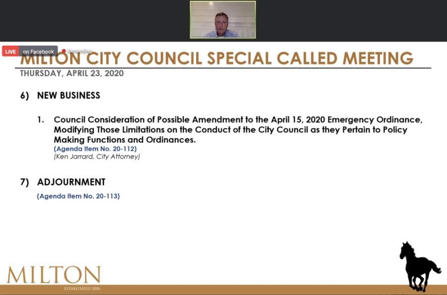 Ordinances can now be brought forward to Milton City Council members while council meetings are conducted virtually. (Screenshot via Facebook Live)