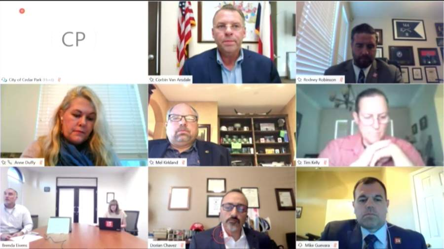 Cedar Park City Council met virtually on April 23 to discuss wastewater agreements, election date options, COVID-19 and other items. (Screenshot)