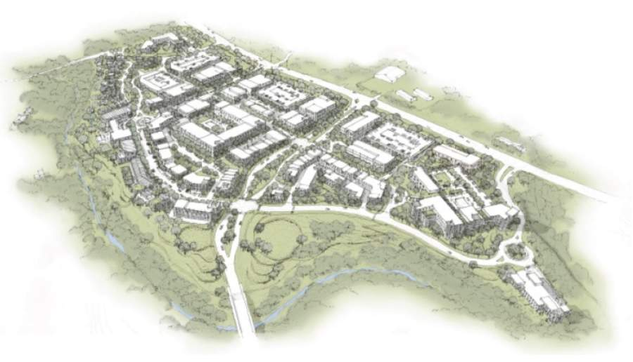 A rendering of the proposed multiuse development called The Village at Spanish Oaks from 2018 shows the development as it would run along the south side of Hwy. 71. (Courtesy city of Bee Cave)