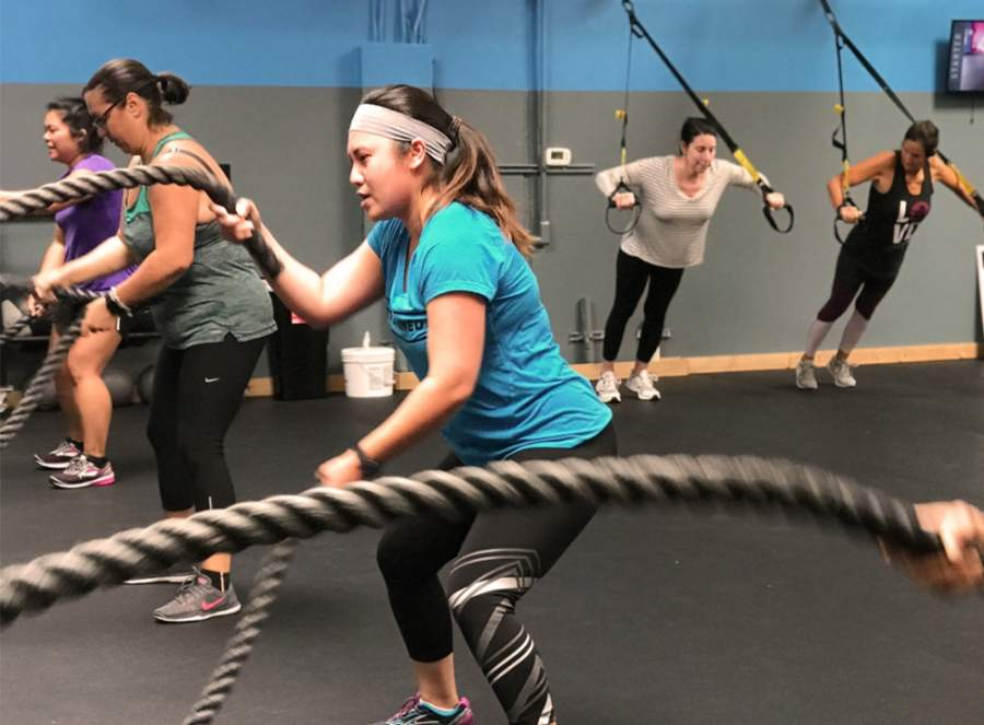 The female-focused fitness studio hosts 30-minute Tone & Torch classes and offers child supervision. (Courtesy Delta Life Fitness)