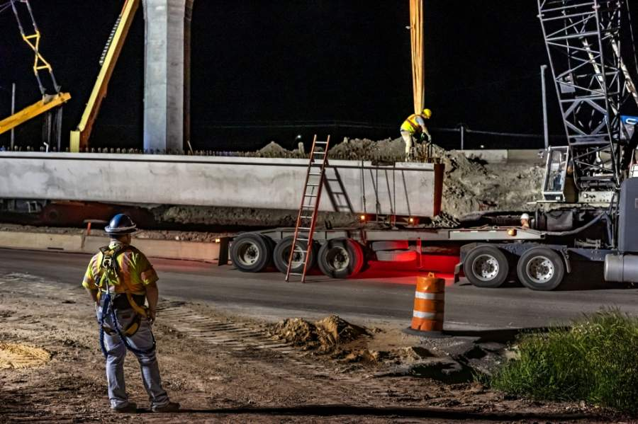 Texas Department of Transportation construction crews installed beams over southbound I-35 in North Austin. (Courtesy Texas Department of Transportation)