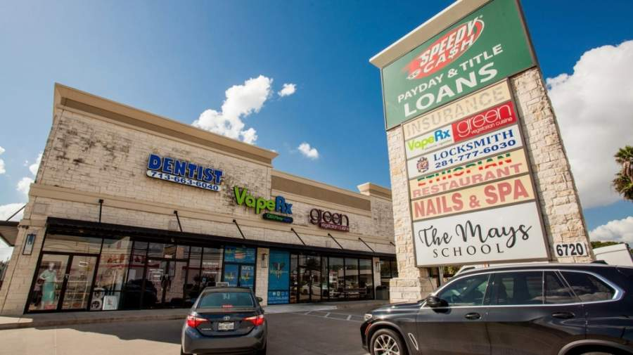 A two-building shopping center at Chimney Rock Road and Bellaire Boulevard, at 6720 Chimney Rock Road and 5504 Bellaire Blvd., has new ownership. (Courtesy New Quest Properties)