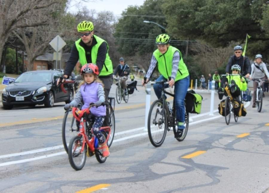 Local bicycle advocacy organization Bike ATX got a group of cyclists together on the morning of Feb. 8 to ride along Shoal Creek Boulevard in the newly opened protected bike lanes. (Jack Flagler/Community Impact Newspaper)