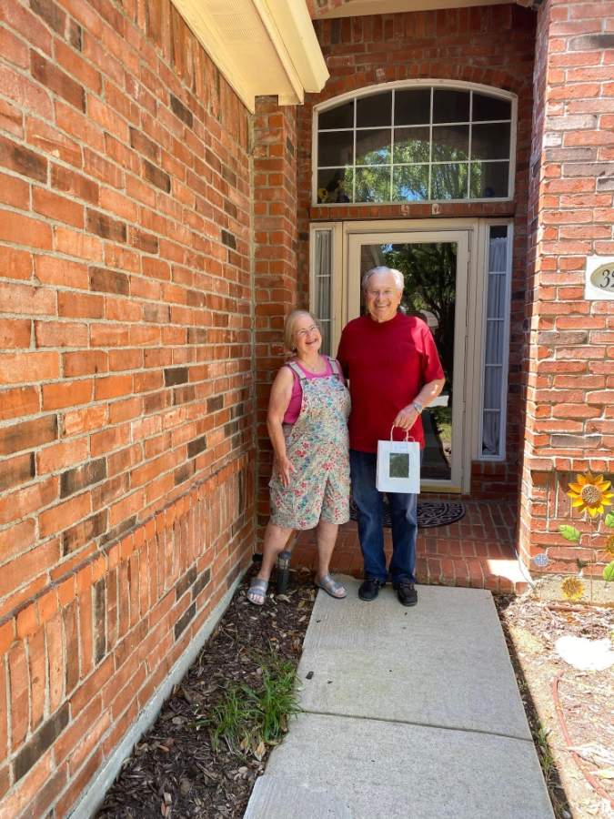 Al and Mary Kay Walker received a care package from Medical City Lewisville. Al Walker has been a volunteer at the hospital for 17 years. (Courtesy Medical City Lewisville)