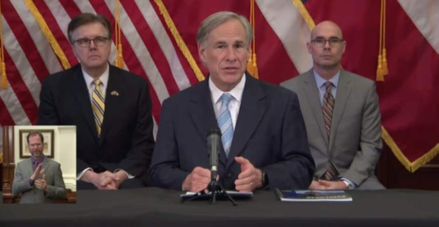 Gov. Greg Abbott announced retail stores, restaurants, movie theaters and malls will be permitted to operate with limited occupancy starting May 1. (Screenshot of April 27 press conference)