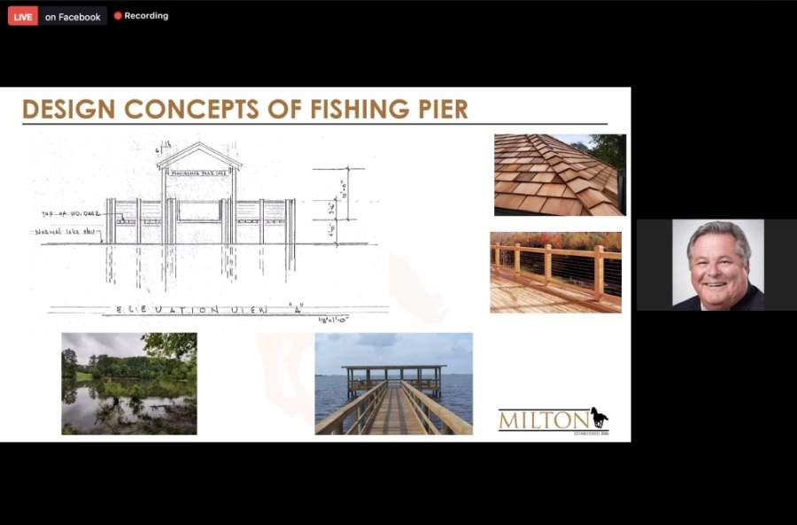 A new fishing pier is coming to Providence Park in Milton. (Screenshot via Zoom Meetings)