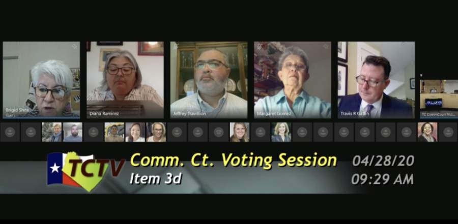 A photo of a virtual meeting of the Travis County Commissioners Court