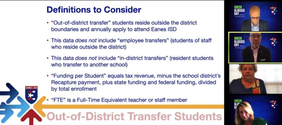 EISD Deputy Superintendent Jeff Arnet presented an overview of projected out-of-district transfer rates for the 2020-21 school year. (Courtesy Eanes ISD)