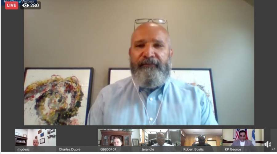 Fort Bend ISD Superintendent Charles Dupre joined a virtual public education town hall meeting with other superintendents in Fort Bend County on April 29. (Screenshot via KP George Fort Bend County Judge Facebook live video)