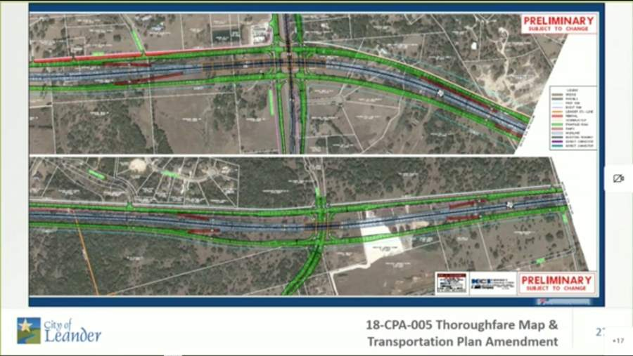 A Texas Department of Transportation schematic, which was provided to the city, includes main lanes and frontage roads. (Screenshot city of Leander)