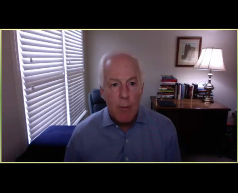 In a 30-minute virtual update with approximately 150 Williamson County business leaders on April 30, U.S. Sen. John Cornyn, R-Texas, discussed the federal government's response to the coronavirus pandemic and the state of businesses reopening in Texas on May 1. (Screenshot courtesy Cedar Park, Georgetown, Round Rock chambers of commerce)