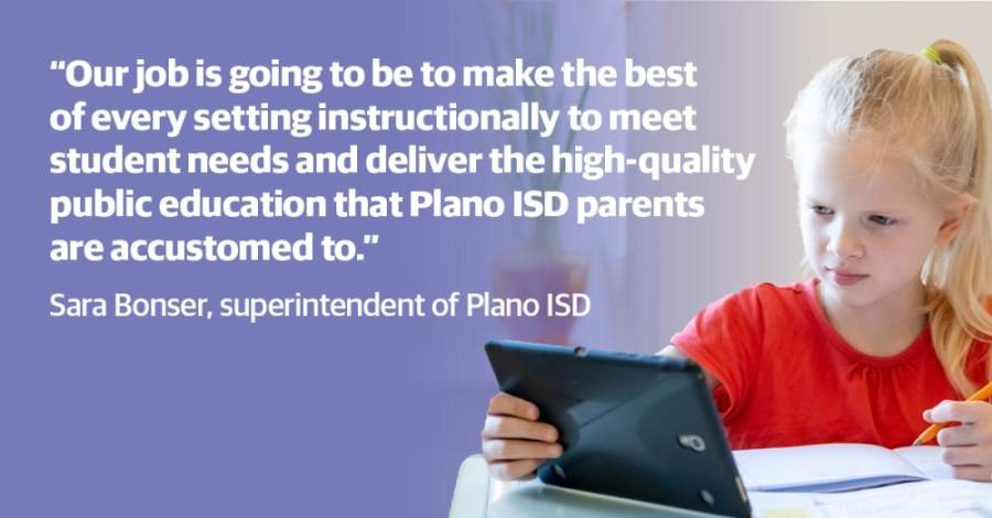 Plano ISD leadership, including superintendent Sara Bonser, chief operating officer Theresa Williams, and chief financial officer Randy McDowell shared progress updates and potential plans for the district during a virtual town hall April 30. (Community Impact Newspaper staff)