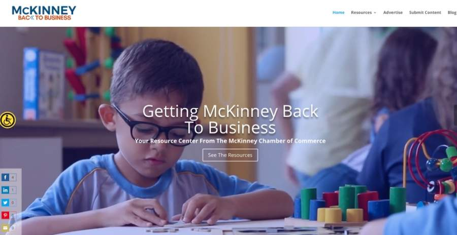 The McKinney Chamber of Commerce has launched a new website to help businesses navigate reopening. (Screenshot by Miranda Jaimes/Community Impact Newspaper)