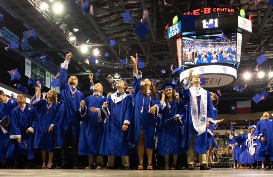 Leander High School's Class of 2019 celebrates in the H-E-B Center at Cedar Park. (Courtesy Leander ISD)