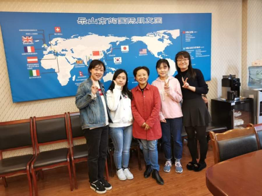 Chen Yingli (center) and her staff in Leshan, China's foreign affairs office offered Gilbert a donation of 100 N95 face masks. (Courtesy Gilbert Sister Cities)