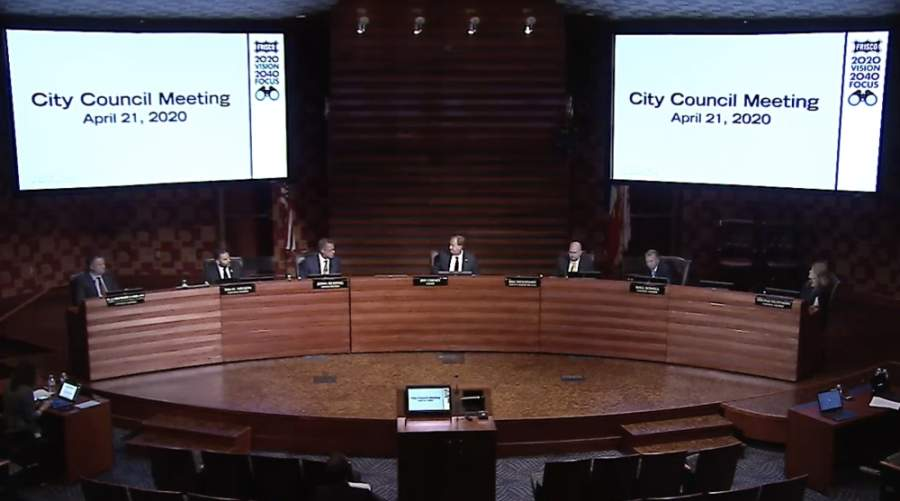 Frisco City Council will hold a work session at 4 p.m. May 5 in the council chambers at the George A. Purefoy Municipal Center followed by its regular meeting at 5 p.m. (Screenshot courtesy city of Frisco)