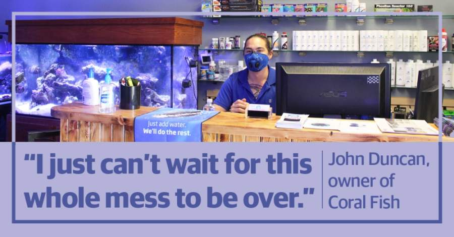 Owner John Duncan sports a protective face mask inside Coral Fish and Beyond, located at 2041 Rufe Snow Drive, Ste. 303, Keller. (Ian Pribanic/Community Impact Newspaper)