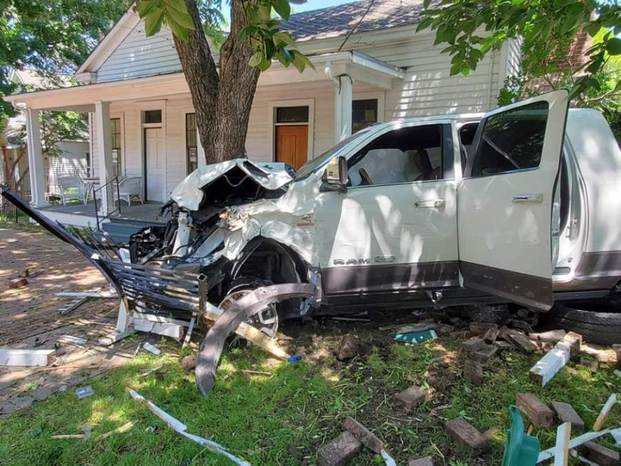 John Faires House at Chestnut Square was damaged after a vehicle struck it May 2. (Courtesy Chestnut Square)