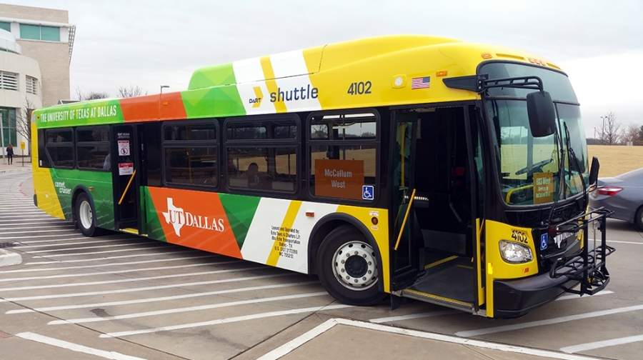 The Comet Cruiser at The University of Texas at Dallas is one of Dallas Area Rapid Transit's highest performing buses, according to the transit agency. (Courtesy DART)