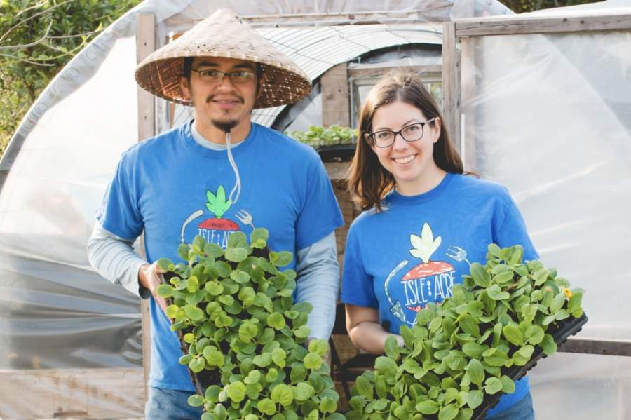 Pete and Becky Tamez started Isle Acre Farms to serve their family and other families safe, fresh produce. (Courtesy Isle Acre Farms)