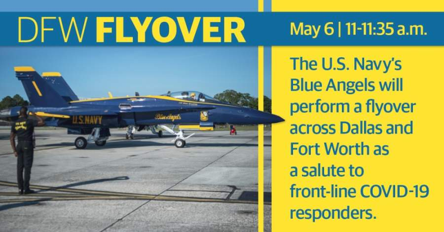 The flyover is a salute to honor health care workers, first responders and other essential front0line workers. (Courtesy U.S. Navy/Community Impact Newspaper)