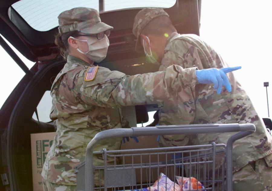 """[The National Guardsmen] have been such a blessing to us and they've helped take over the operation and the distribution,"" said New Braunfels Food Bank Executive Director Monica Borrego. (Lauren Canterberry/Community Impact Newspaper)"