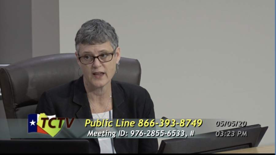 A screen shot of Sarah Eckhardt at a Travis County Commissioners Court Meeting
