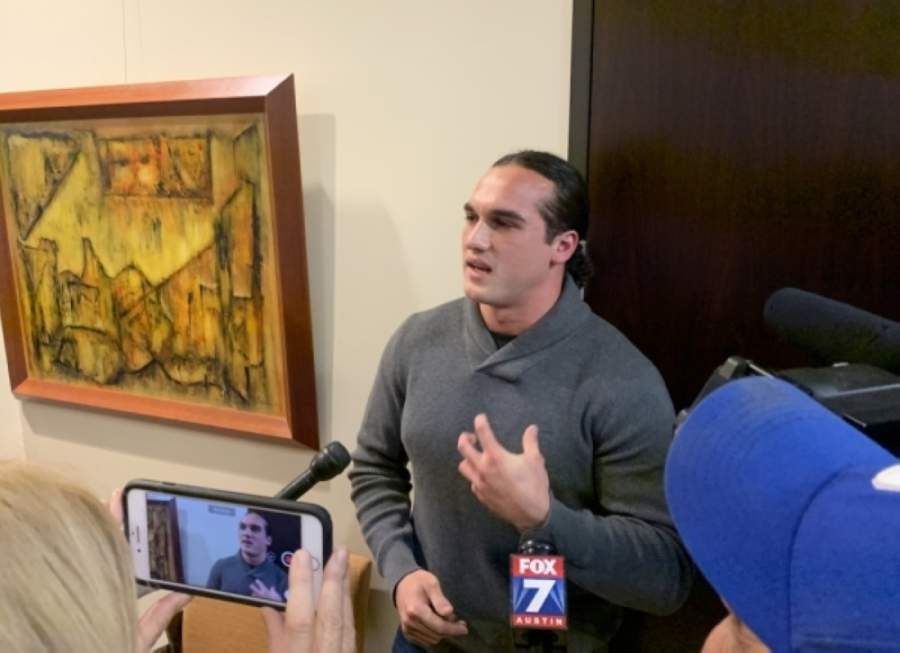 Greg Kelley, a former Leander High School student whose 2014 conviction was recently overturned, told members of the press after the Nov. 14 Cedar Park City Council meeting that he wanted the Cedar Park police chief and sergeant who worked on his case to be held accountable for what happened to him. (Community Impact Newspaper file photo)