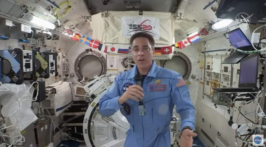 Christopher Cassidy answered educators' questions from the International Space Station at a Space Center Houston-sponsored live event. (Screenshot of May 6 livestream)