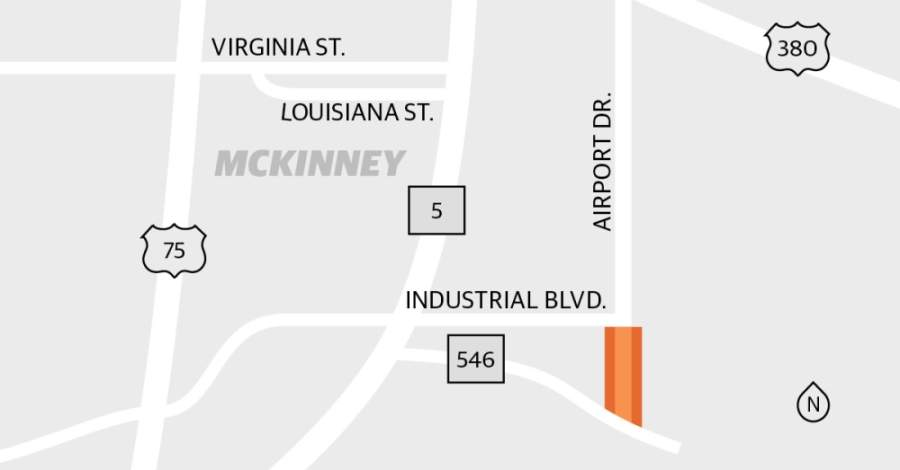 Improvements are being made to Airport Drive in McKinney. (Graphic by Michelle Degard/Community Impact Newspaper)