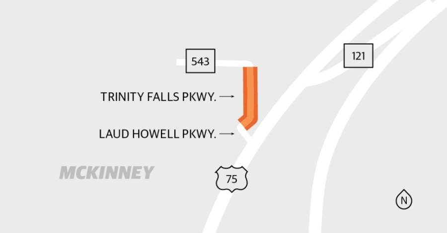 Trinity Falls Parkway in McKinney is continuing to be paved. (Graphic by Michelle Degard/Community Impact Newspaper)