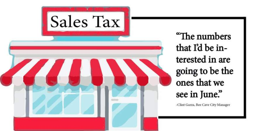 The office of the Texas comptroller released city-by-city numbers for March sales tax revenue May 6. (Designed by Brian Rash/Community Impact Newspaper)