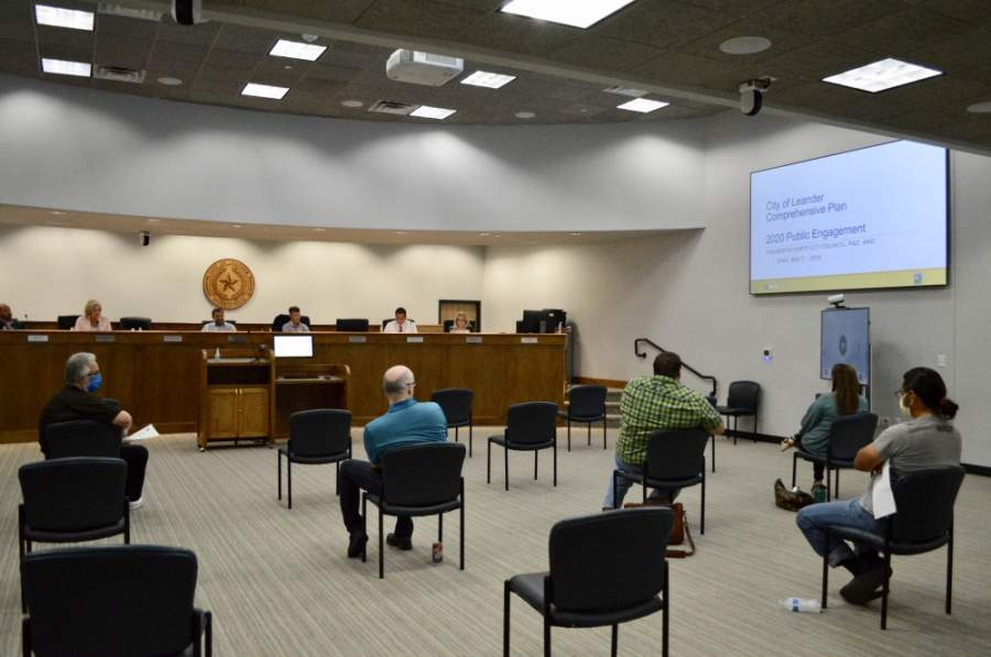 Leander City Council met in-person May 7 for the first time since March 19. (Taylor Girtman/Community Impact Newspaper)
