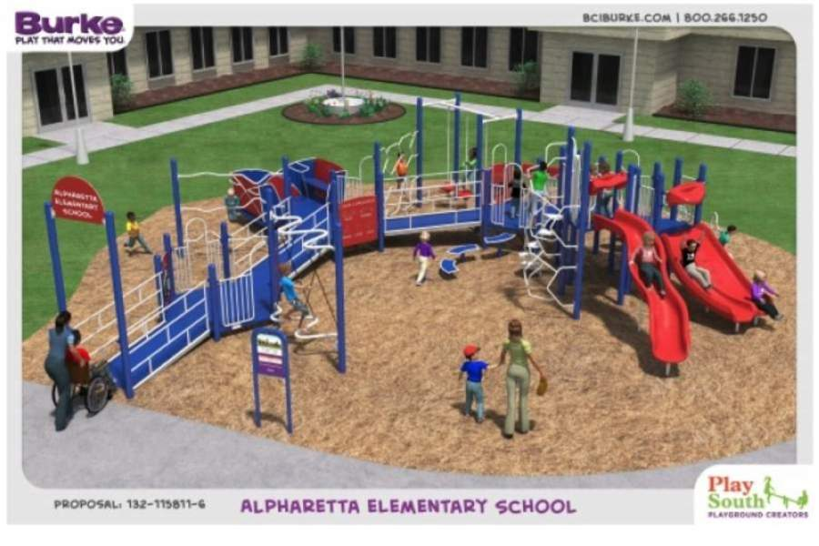 An inclusive playground is coming to Alpharetta Elementary School for both school and city resident use, per an intergovernmental agreement between the city of Alpharetta and Fulton County Schools. (Rendering courtesy city of Alpharetta)
