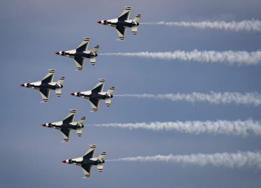 The Thunderbirds perform at the Legends In Flight air show at Joint Base Andrews, Maryland, May 10, 2019. (Courtesy U.S. Air Force)